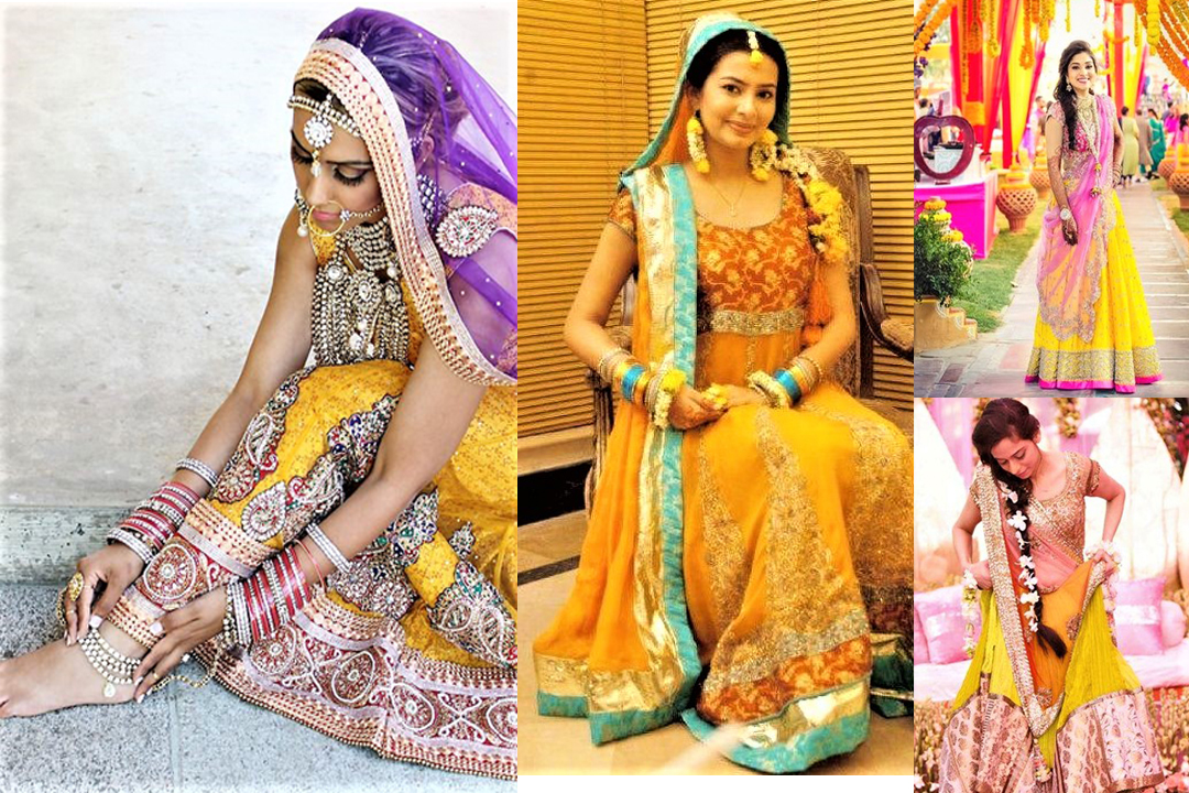 Mehndi Clothes For Brides : Beautiful green and yellow mehndi dresses