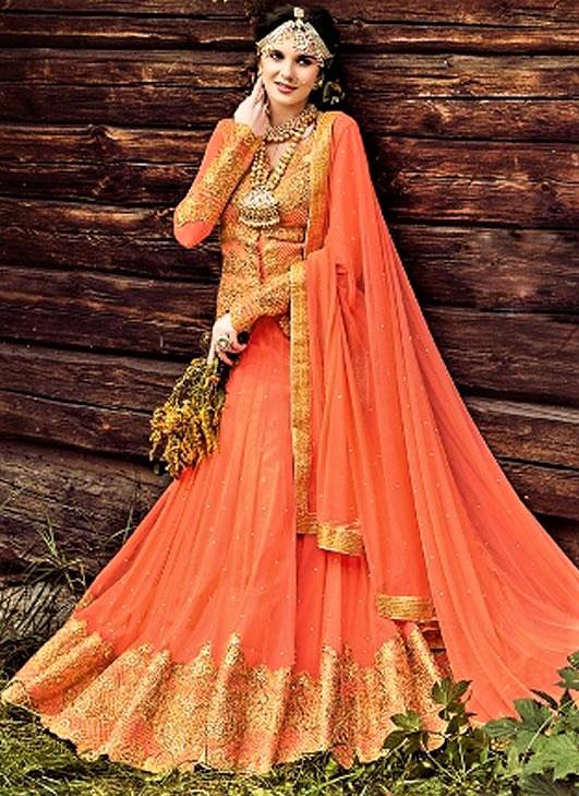 Orange Shirt Lehnga Choli designs