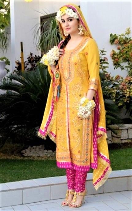 Elegant Yellow and Pink Shalwar Kameez for brides
