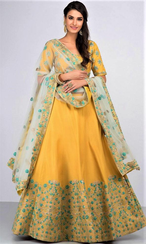 Yellow Green Lehnga mehndi dress