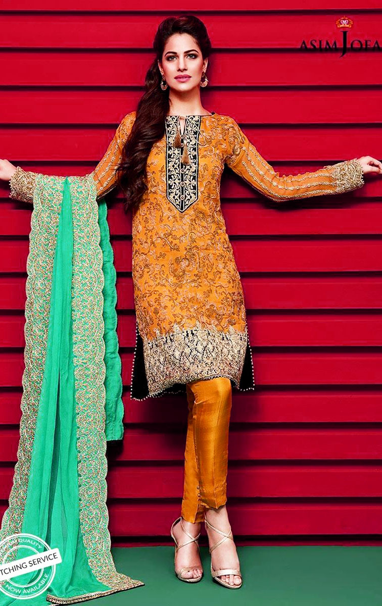 New Asim Jofa Mehndi Dresses Chiffon Collection