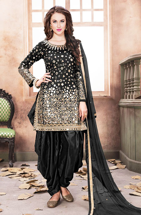 Mehndi Dresses With Patiala Salwar Kameez black colour