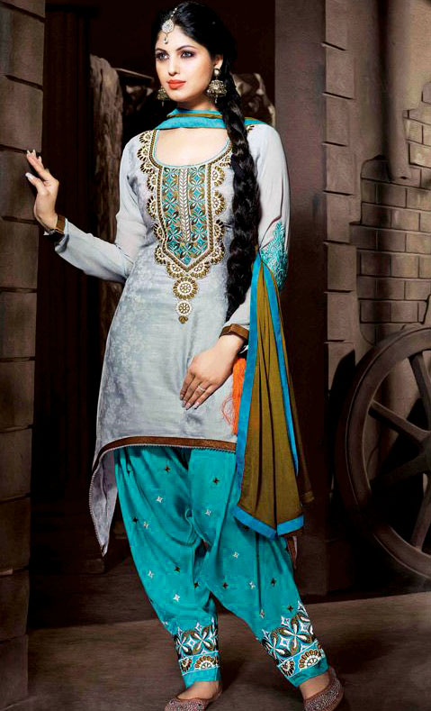 Simple Mehndi Dresses With Patiala Salwar Kameez
