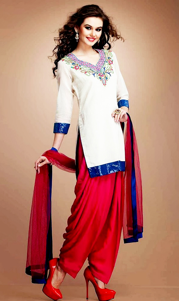 White and Red Mehndi Dresses With Patiala Salwar Kameez