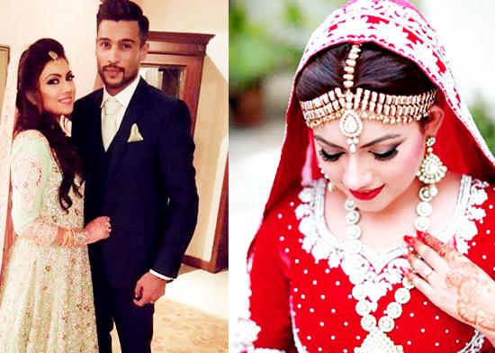 Muhammad Amir and Wife Pakistani Celebrities Mehndi Dresses