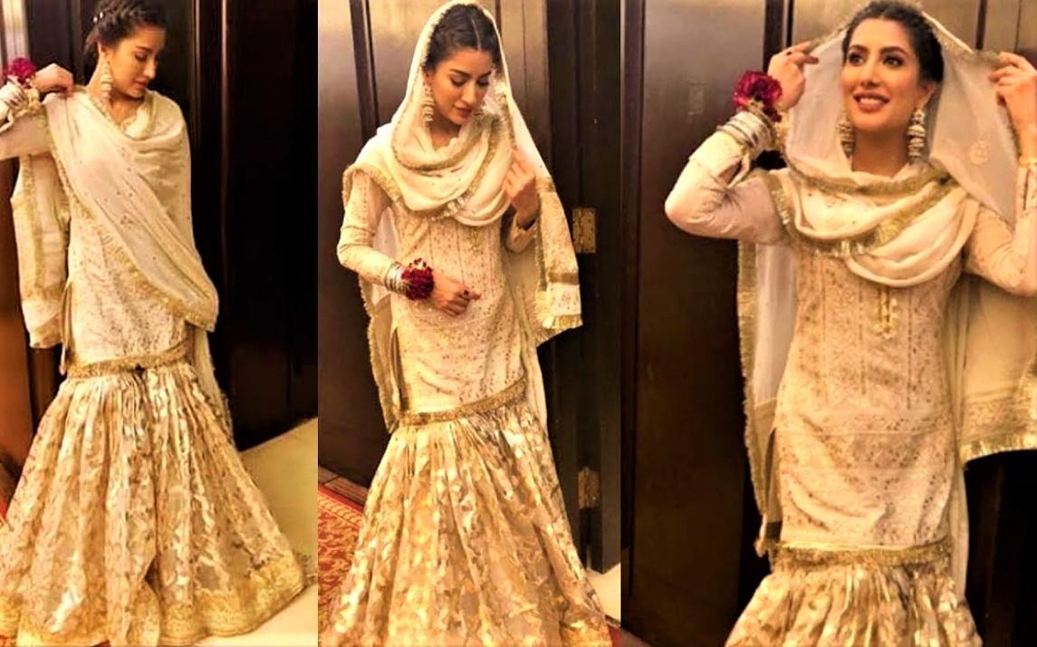 Pakistani Actresses Mehndi Dresses mehwish hayat wedding sharara
