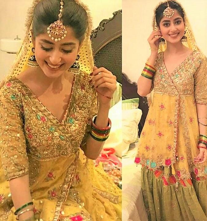 Pakistani Actresses Mehndi Dresses pics