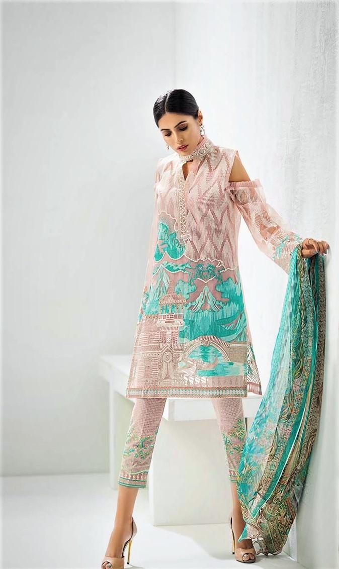 Mehndi chiffon Dresses By Gul Ahmed