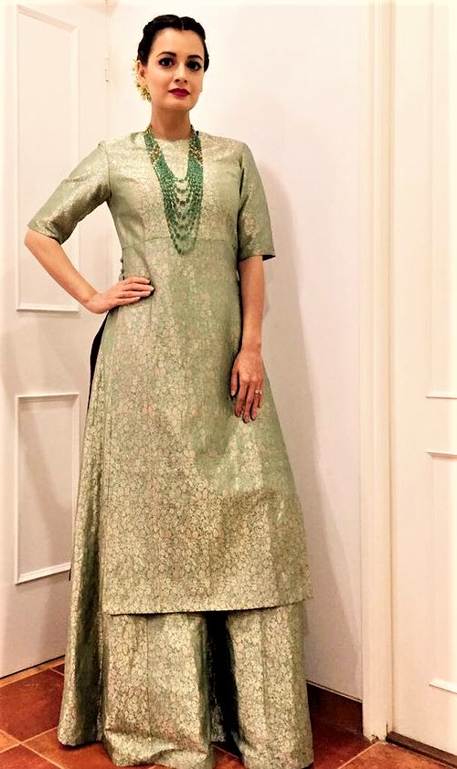 Latest Long Shirt Mehndi Dresses plazo
