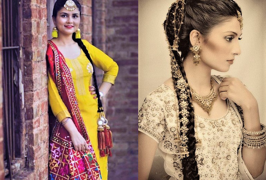 11 Mehndi Dresses with Paranda Hairstyles Fashion