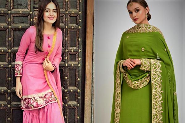 Mehndi Dresses Sharara Simple 2018-2019