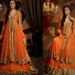 Mehndi Dresses in Orange Colour Contrasts bridemaid