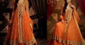 Mehndi Dresses in Orange Colour Contrasts bridemaid