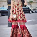 Mehndi Dresses in Jamawar Sharara Gharara Designs for girls