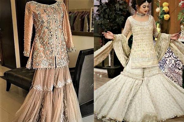 Mehndi Dresses in Jamawar Sharara Gharara Designs