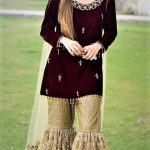 Mehndi Dresses in Jamawar Sharara