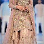 Net Mehndi Dresses in Jamawar Sharara Gharara Designs