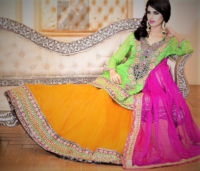 Mehndi Dress Pink and Orange Color Combination