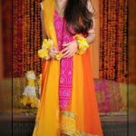 Mehndi Dresses in Orange Colour Contrasts designers