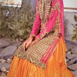 Mehndi Dresses in Orange Colour Contrasts for ladies