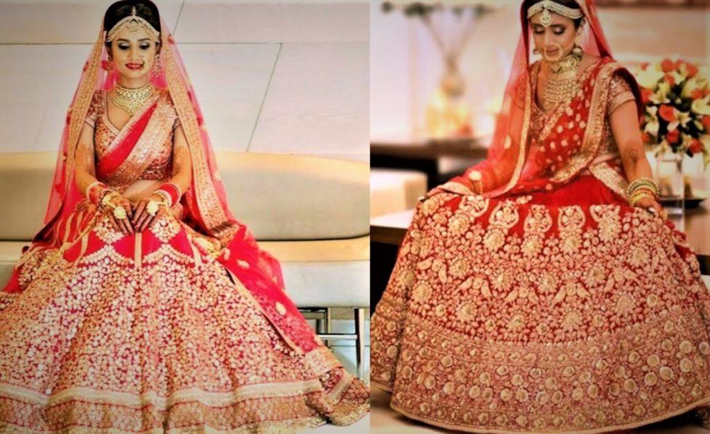 Red Mehndi Dresses for Dulhan