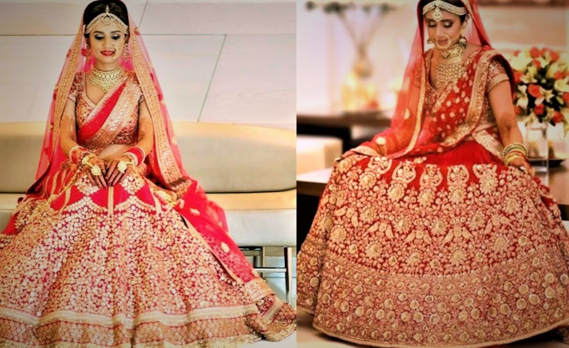 Red Mehndi Dresses for Dulhan