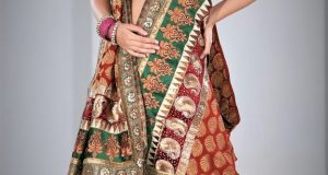 Jamawar Lehenga Choli for Mehndi Dresses