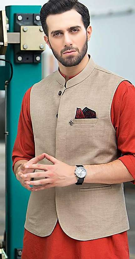Mehndi Kurta Style Waist Coat for Mens 2018