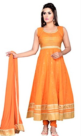 Orange and Green mehndi dress