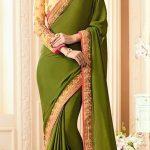 Plain Mehndi Sarees Designs New Dresses 2018