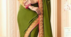 Plain Mehndi Sarees Designs New Dresses 2018