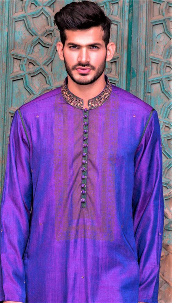Purple Mehndi Kurta Style 2018 for Men