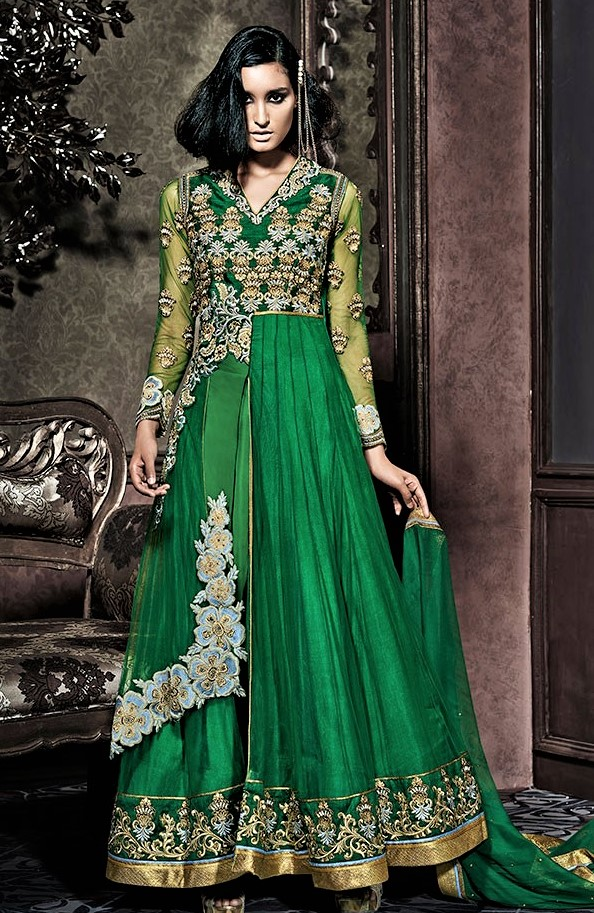 bottle green mehndi dresses
