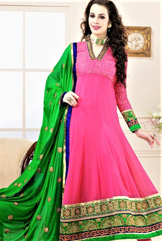 Green and pink mehndi dress