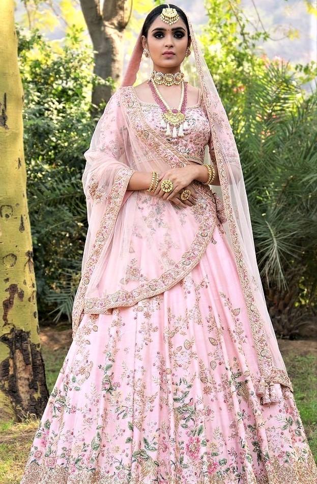 Baby pink Mehndi Lehenga Colour Combinations Bridal Dresses