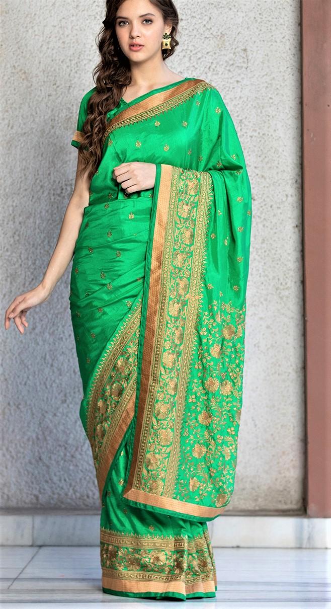 Best Mehndi Green Sarees Designs