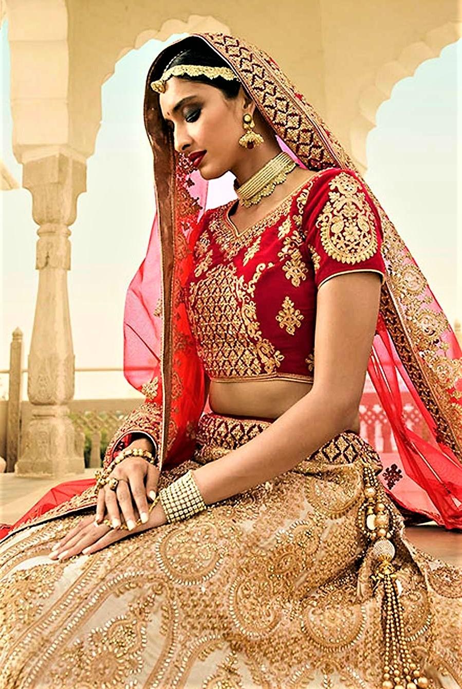 Golden colour lehenga for bride