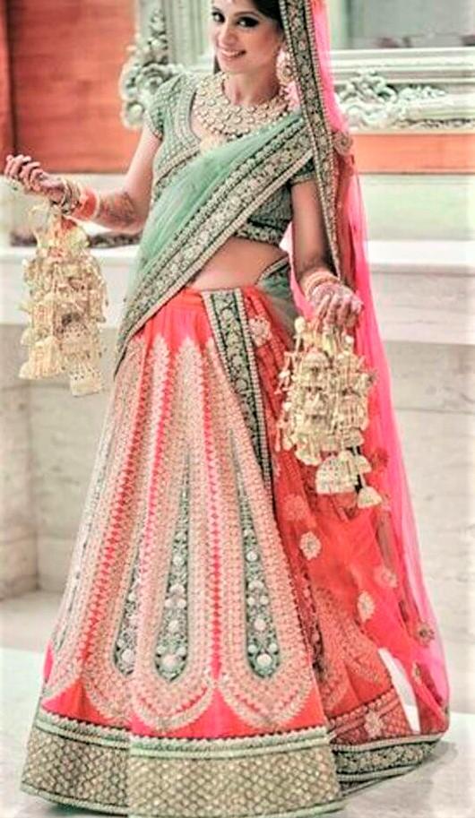 best peach Mehndi Lehenga Colour Combinations Bridal Dresses