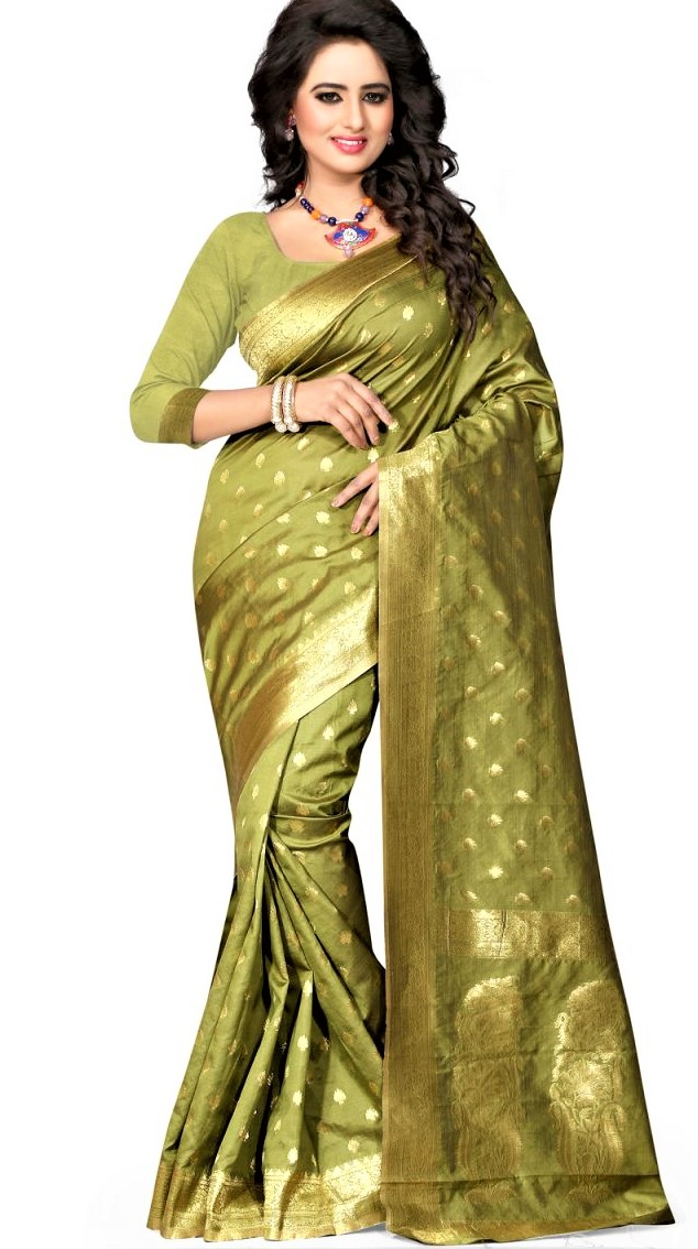 Mehndi Color Saree Dress Designs 2018