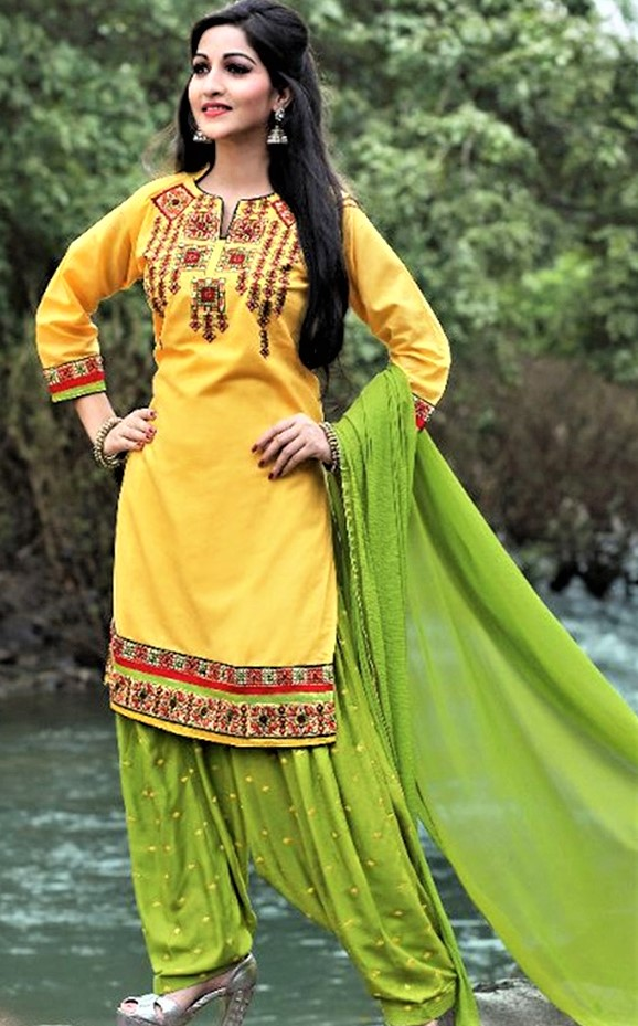 Mehndi Dresses Punjabi Suit Combination With Yellow