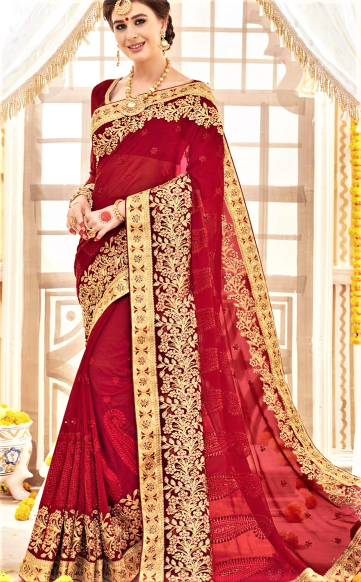 Mehndi Dresses Red Saree With Gota Patti Work