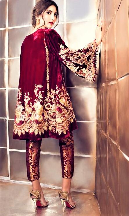 Mehndi Dresses: Velvet Short Frock Style
