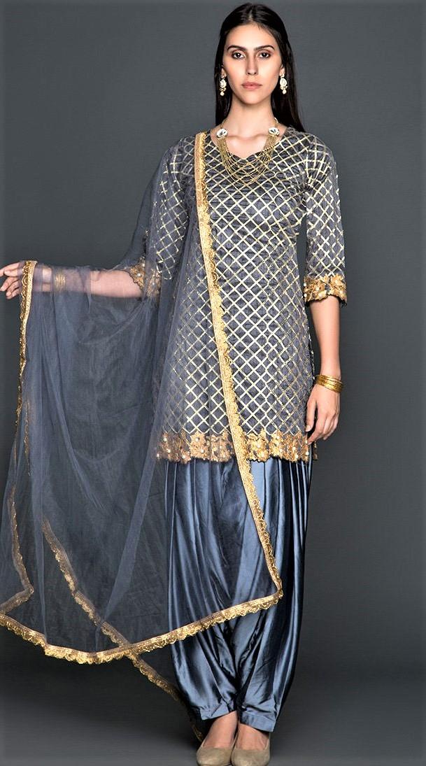 Mehndi Dresses: New Punjabi Suit Grey Colour Combination