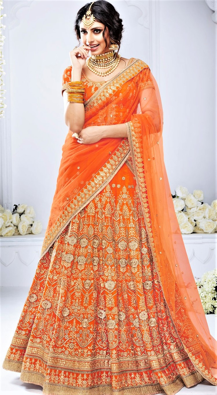 Orange Mehndi Lehenga Dresses 2018 Pakistani