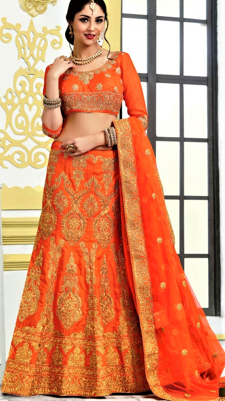 Orange Mehndi Lehenga Colour Combinations Bridal Dresses