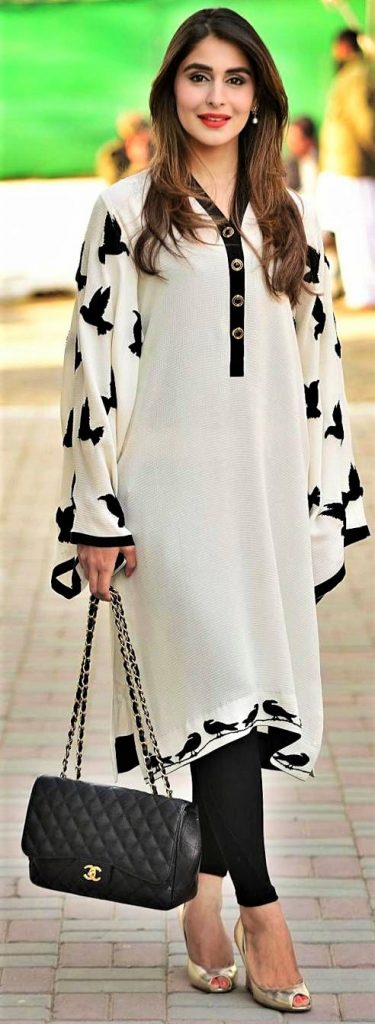 Pakistani Black and White Kurti Patterns for summer