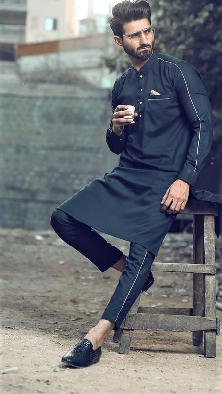 Pakistani Black colour kurta pajama design for boy 2019