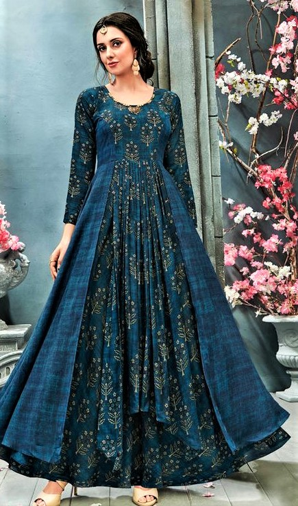 casual Pakistani Long Frock Designs for Girls