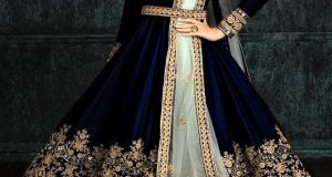 velvet Latest Design of Gown for Girl Pakistani Dresses