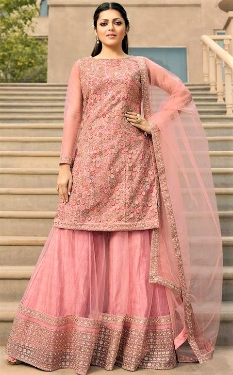 Pink Heavy Party Wear Shar for ladiesara Suits